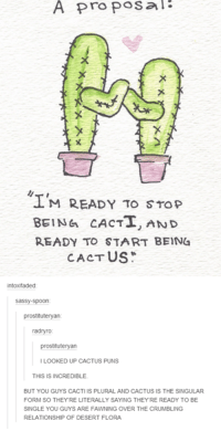 #TumblrMadeMeDoIt: A proposal  M READY TO STOP  BEING CACTI, AND  READY TO START BEIN4  CACTUS  sassy-spoon  prostituteryan  radnyro  itute  ILOOKED UP CACTUS PUNS  THIS IS INCREDIBLE  BUT YOU GUYS CACTI IS PLURAL AND CACTUS IS THE SINGULAR  FORM SO THEY RE LITERALLY SAYING THEYRE READY TO BE  SINGLE YOU GUYS ARE FAWNING OVER THE CRUMBLING  RELATIONSHIP OF DESERT FLORA #TumblrMadeMeDoIt