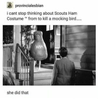 Memes, 🤖, and Ham: a provincialesbian  i cant stop thinking about Scouts Ham  Costume from to kill a mocking bird......  she did that ik a lot of people didn't like TKAM but i actually enjoyed it a lot, i just got frustrated at some points like specifically during the trial bc it was getting really intense and thEN SCOUT WOULD START THINKING ABOUT BUT THE TRIAL LIKE SCOUT SIS!!!! GET IT TOGETHER!!!