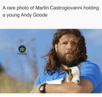 Martin, Memes, and Goat: A rare photo of Martin Castrogiovanni holding  a young Andy Goode  RUGBY  MEMES  Instagıam Majestic 🐐 rugby andygoode GOAT