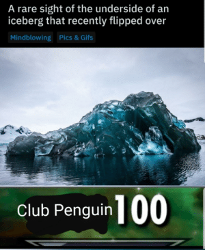 Club, Gifs, and Penguin: A rare sight of the underside of an  iceberg that recently flipped over  Mindblowing Pics& Gifs  club Penguin 100 They finally did it
