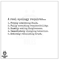 Sorry, Forgiveness, and Responsibility: A real apology requires...  l. Freely admitting fault.  2. Fully accepting responsibility.  3. bly asking forgiveness.  4. Immediately changing behavior.  5. Actively rebuilding trust.  RELATIONSHIP  RULES Because, Just saying sorry is not enough.