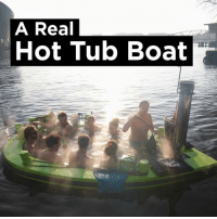 Dank, Boat, and 🤖: A Real  Hot Tub Boat Who would you take on this hot tub boat? 🙌
