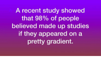 Incredible finding.  What similar studies have you encountered?: A recent study showed  that 98% of people  believed made up studies  If they appeared on a  pretty gradient. Incredible finding.  What similar studies have you encountered?