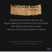 "<p><a class=""tumblr_blog"" href=""http://eretzyisrael.tumblr.com/post/152396180252"">eretzyisrael</a>:</p> <blockquote> <p>An incredible 2,700 year-old Papyrus bearing the oldest known mention of Jerusalem in Hebrew. This fragile piece of Jewish history was plundered from a cave in the Judean desert and then recovered by the Israel Antiquities Authority. The full Hebrew text reads : ""From the female servant of the King, from Naharata (near Jericho) two wineskins to Jerusalem."" This is from the time of the First Temple.<br/>The UN has just passed two outrageous resolutions claiming that there is no link between the Temple Mount, the most sacred site in Judaism ( which they have now renamed Al Haram Al Sharif ) and the Jewish people.</p> <p><br/>Join us and demand the UN explicitly recognize Judaism's history on the Temple Mount and Western Wall:<a href=""http://tip.nationbuilder.com/unesco""> here</a></p> </blockquote>: A recently discovered 2,700 year-old  Papyrus, dating from the time of the First Temple,  with the first ever known written  mention of the word Jerusalem' in Hebrew  The United Nations wants to erase 3,000 years of Jewish history  from Jerusalem. Don't let them get away with it.  tip <p><a class=""tumblr_blog"" href=""http://eretzyisrael.tumblr.com/post/152396180252"">eretzyisrael</a>:</p> <blockquote> <p>An incredible 2,700 year-old Papyrus bearing the oldest known mention of Jerusalem in Hebrew. This fragile piece of Jewish history was plundered from a cave in the Judean desert and then recovered by the Israel Antiquities Authority. The full Hebrew text reads : ""From the female servant of the King, from Naharata (near Jericho) two wineskins to Jerusalem."" This is from the time of the First Temple.<br/>The UN has just passed two outrageous resolutions claiming that there is no link between the Temple Mount, the most sacred site in Judaism ( which they have now renamed Al Haram Al Sharif ) and the Jewish people.</p> <p><br/>Join us and demand the UN explicitly recognize Judaism's history on the Temple Mount and Western Wall:<a href=""http://tip.nationbuilder.com/unesco""> here</a></p> </blockquote>"