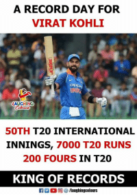 #IndVsNZ #ViratKohli: A RECORD DAY FOR  VIRAT KOHLI  LAUGHING  50TH T20 INTERNATIONAL  INNINGS, 7000 T20 RUNS  200 FOURS IN T20  KING OF RECORDS  (2回四/laughingcolours #IndVsNZ #ViratKohli