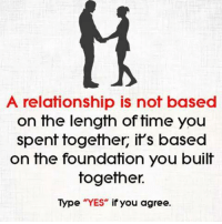 "Memes, Time, and 🤖: A relationship is not based  on the length of time you  spent together, it's based  on the foundation you built  together.  Type ""YES"" if you agree"