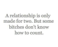 relationship: A relationship is only  made for two. But some  bitches don't know  how to count.
