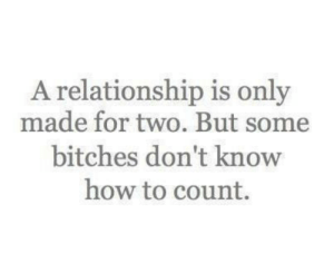 Dont Know How: A relationship is only  made for two. But some  bitches don't know  how to count.