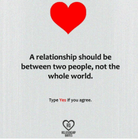 Memes, Quotes, and World: A relationship should be  between two people, not the  whole world.  Type Yes if you agree.  RELATIONSHIP  QUOTES