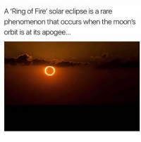 """Creepy, Fire, and Memes: A """"Ring of Fire' solar eclipse is a rare  phenomenon that occurs when the moon's  orbit is at its apogee... 101k 🔒 @creepy.fact 👈"""