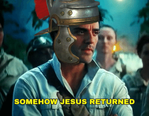 A roman soldier informs Pontius Pilate that Jesus rose from the dead, 33 AD, colorized: A roman soldier informs Pontius Pilate that Jesus rose from the dead, 33 AD, colorized