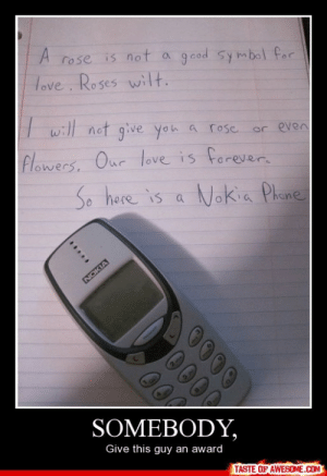 Somebody,http://omg-humor.tumblr.com: A rose is not a gcod symbol for  Hove. Roses wilIt.  I will not give you a rose.  or even  Flowers, Our love is forever.  So here is a Nokia Phane  NOKIA  SOMEBODY,  Give this guy an award  TASTE OF AWESOME.COM  0000  00 Somebody,http://omg-humor.tumblr.com