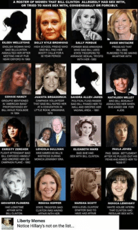 booty call: A ROSTER OF WOMEN THAT BILL CLINTON ALLEGEDLY HAD SEX WITH,  OR TRIED TO HAVE SEX WITH, CONSENSUALLY OR FORCIBLY  EILEEN WELLSTONE  DOLLY KYLE B  NG  SALLY PERDUE  SUSIE WHITACRE  ENGLISH WOMAN WHO HIGH SCHOOL FRIEND WHO FORMER MSS ARKANSAS  PRESS AND THAT  SAID BILLCLINTON  SAID BILL PAD HER  WHO SAID BILL USED  BILL WAS  ASSAULTED HERAFTER  BOOTY CALLS FORA  STATE TROOPERS TO  D TO BE HAVING  MEETING HIM AT PUB  30 YEAR PERIOD  ARRANGE SEXUAL TRYSTS  AN AFFAIR WITH  NEAR OXFORD IN 1969  WITH HER-1983  CONNIE  HAMZY  JUANITA BROADDRICK  SANDRA ALLEN JAMES  KATHLEEN WILLEY  GROUPE MENTIONED  CAMPAIGN VOLUNTEER  POLITICAL FUND RAISER  SAID BILL SEXUAL  AMERICAN BAND  THAT SAD BILL RAPEDHER  SAID BILL PINNED HER TO  ASSAUTED HER WHEN  ED BY  ATA  WALL AND GROPED HER  SHE ASKED HIM FOR  BILL WHILEPOOLSIDE  LITTLE ROCK, ARKANSAS.  VAGINALAREA.-1991  A JOB  1978  LENCOLA SULLIVAN  PAULA JONES  CHRISTY ZERCHER  ELIZABETH WARD  FLIGHT ATTENDANT SAID  WASNAMEDAS BILLS  SAID SHE HAD  PAID $850K SETTLEMENT  BILL EXPOSED HIMSELF  MISTRESS DURING  SEX WITH BILL CLINTON.  AFTER HE PULLED OUT HIS  AND GROPED HERON  MONCALEWINSKYERA.  PENISANDASKED HER TO  CAMPAGN PLANE 1992  KISS IT  REGINA HOPPER  GENNIFER FLOWERS  MARSHA SCOTT  MONICA LEWINSKY  HAD LONGTIME  HIGH LEVEL CLINTON  WHITE HOUSE INTERN  STATE TROOPER SAD  AFFAIR WITH  STAFFER SAID TO  THAT CUNTON HAD  CLINTON WAS HAMING  BILL CLINTON  AFFAIR WITH HER  HAVE HAD AFFAIR  REGULAR SEX WITH  Liberty Memes  Notice Hillary's not on the list...