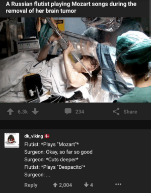 "Ah shit here we go agien: A Russian flutist playing Mozart songs during the  removal of her brain tumor  NL NG  6.3k  Share  234  dk_viking  Flutist: *Plays ""Mozart""  The y  Surgeon: Okay, so far so good  Surgeon: *Cuts deeper*  Flutist: *Plays ""Despacito*  Surgeon:...  4  4 2,004  Reply Ah shit here we go agien"