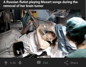 Brain, Mozart, and Songs: A Russian flutist playing Mozart songs during the  removal of her brain tumor  NG  6.3k  Share  234 Does this belong here?
