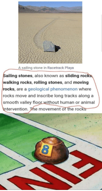 sailing: A sailing stone in Racetrack Playa  ailing stones, also known as sliding roc  walking rocks, rolling stones, and moving  rocks, are a geological phenomenon where  rocks move and inscribe long tracks along a  smooth valley floor without human or animal  in  tervention. The movement of the rocks