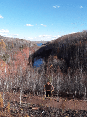 A scenic view of a mine lake in MN: A scenic view of a mine lake in MN