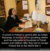 Jamsaheb Digvijay Singh Jadeja: A school in Poland is named after an Indian  Maharaja, in honour of him providing shelter  and free education to hundreds of Polish  women and children after they had to escape  Poland due to the World War 2.  weird-facts.org  @factsweird Jamsaheb Digvijay Singh Jadeja