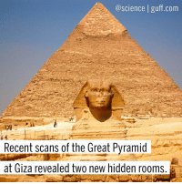 "Drone, Memes, and Discover: a science guff com  Recent scans of the Great Pyramid  at Giza revealed two new hidden rooms. Hidden rooms are the best kind of rooms, don't you think? The ScanPyramids project (which uses muon detectors, infrared thermography, laser scanning and aerial drones to non-invasively look inside the pyramids) recently discovered two cavities in the Great Pyramid at Giza that they had never seen before. While this group of scientists believes they have found two previously undiscovered rooms, others are more skeptical. ""These people are scientists and do not have an archaeological background. The core of the pyramid was built using long stones and small stones. If you know that, you'll find anomalies everywhere. I think there are no secret rooms and these anomalies have to do with the way the pyramid was built,"" said Zahi Hawass, former Egyptian Minister of State for Antiquities Affairs and Director of the Giza Pyramids Excavation. What a party pooper! Photo cred: Emaze Science Archaeology Egypt Pyramids Secrets TheMummy BestOf"