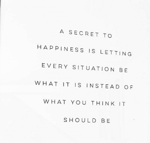 Every Situation: A SECRET TO  HAPPINESS IS LETTING  EVERY SITUATION BE  OF  WHAT IT IS INSTEAD  WHAT YOU THINK IT  SHOULD BE