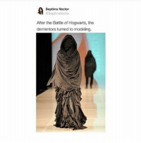 Memes, 🤖, and Acc: A Septima Vector  aSeptimaVector  After the Battle of Hogwarts, the  dementors turned to modeling. 😂😂 Tag a friend! Follow my other acc @fictionandmore Tag a friend! harrypotter potterhead