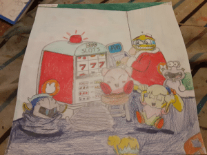 """A sequel (of sorts) to my """"dogs playing poker"""" parody, Kirby just won bank at the slots, whilst Dedede wasn't so lucky. (This one was never updated.): A sequel (of sorts) to my """"dogs playing poker"""" parody, Kirby just won bank at the slots, whilst Dedede wasn't so lucky. (This one was never updated.)"""