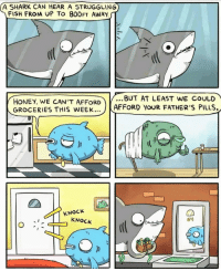 Shark, Fish, and Http: A SHARK CAN HEAR A STRUGGLING  FISH FROM UP TO 800FT AWAY  HONEY, WE CAN'T AFFORD  GROCERIES THIS WEEK  ...BUT AT LEAST WE COULD  AFFORD YOUR FATHER'S PILLS  KNOCK  KNOCK  64 Not OC, just wanted to share. via /r/wholesomememes http://bit.ly/2HIg1K7