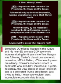 Memes, Recess, and Depression: A Short History Lesson  1928 Republicans take control of the  Presidency, the House and the Senate.  Followed shortly by the Great Depression,  massive unemployment and a Stock Market  crash.  2000 Republicans take control of the  Presidency, the House and the Senate.  Followed shortly by two recessions  including the Great Recession, massive  unemployment and a Stock Market crash.  2016 Republicans take control of the  Presidency, the House and the Senate.  Anyone want to guess what happens next?  Somehow OD missed Reagan in the 1980s  and his near 5% average GDP economic  increase during his 8 years in office. Reagan  was following Carter's disastrous economic  recession, >12% inflation, >7% unemployment  presidency. Obama's economic record is  debatable w/ a <3% GPD increase all 8 years.  Yesterday, the Dow closed at an all time high  due to a projected Trump presidency. Just  trying to help, I know you wouldn't want  incomplete economic data & facts. (MW) I'll give OD credit for trying to educate people on nearly 90 years of conservative government economic policy in a meme.