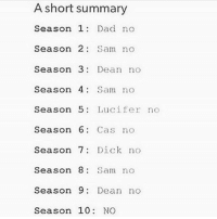 Dad, Fall, and Love: A short summary  Season 1  Dad no  Season 2  Sam no  Season  3: Dean no  Season 4 Sam no  Season 5  Lucifer  no  Season 6  Cas no  Season 7  Dick no  Season 8  Sam no  Season 9  Dean no  Season 10  NO I need someone to fall in love with 😂😍❤