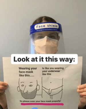A sign demonstrating how NOT to wear your mask: A sign demonstrating how NOT to wear your mask