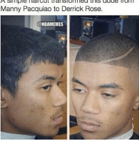 Basketball, Derrick Rose, and Funny: A simple main trans lom lea this auas  Manny Pacquiao to Derrick Rose.  @NBAMEMES Pac-Man to D-Rose. ... pac man pacman manny pacquiao mannypacquiao derrick rose drose rose derrickrose hair cut haircut nba meme memes funny basketball nbamemes