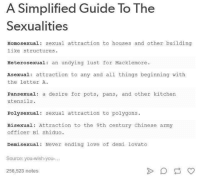 Pansexuals: A Simplified Guide To The  Sexualities  Homosexual: sexual attraction to houses and other building  like structures.  Heterosexual  an undying lust for Macklemore.  Asexual attraction to any and all things beginning with  the letter A.  Pansexual: a desire for pots, pans, and other kitchen  utensils.  Poly sexual sexual attraction to polygons  Bisexual: Attraction to the 9th century Chinese army  officer Bi Shiduo.  Demi sexual: Never ending love of demi lovato  Source: you-wish-you-...  256,523 notes