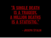 """In commemoration of the death of Fidel Castro, we felt it was time to bring this back.: """"A SINGLE DEATH  IS A TRAGEDY  A MILLION DEATHS  IS A STATISTIC,  JOSEPH STALIN In commemoration of the death of Fidel Castro, we felt it was time to bring this back."""