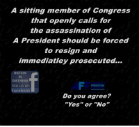"Assassination, Facebook, and Memes: A sitting member of Congress  that openly calls for  the assassination of  A President should be forced  to resign and  immediatley prosecuted...  NATION  IN  DISTRESS  like us on  facebook  FREEDOM  Do you agree?  ""Yes""or ""No Do You Agree?"