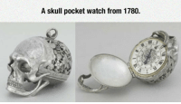 <p>Currently On Display At The Louvre.</p>: A skull pocket watch from 1780. <p>Currently On Display At The Louvre.</p>