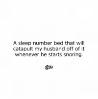 Dank, Husband, and Sleep: A sleep number bed that will  catapult my husband off of it  whenever he starts snoring.  momin Zzzz ... WHOA!!!