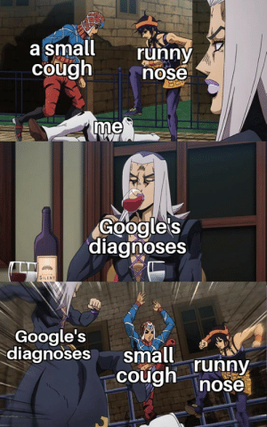 Anime, Google, and Runny Nose: a small  Cough  runny  nose  me  Google's  diagnoses  SILENT  Google's  diagnoses  small runny  nose Thanks Google