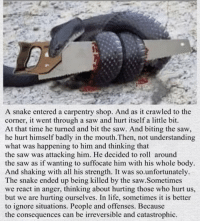 "Being Alone, Life, and Saw: A snake entered a carpentry shop. And as it crawled to the  corner, it went through a saw and hurt itself a little bit.  At that time he turned and bit the saw. And biting the saw,  he hurt himself badly in the mouth.Then, not understanding  what was happening to him and thinking that  the saw was attacking him. He decided to roll around  the saw as if wanting to suffocate him with his whole body  And shaking with all his strength. It was so.unfortunately.  The snake ended up being killed by the saw.Sometimes  we react in anger, thinking about hurting those who hurt us,  but we are hurting ourselves. In life, sometimes it is better  to ignore situations. People and offenses. Because  the consequences can be irreversible and catastrophic. ""Sometimes it's best to leave things alone no matter how anger you are"" 💯 https://t.co/kR2uNIiIhl"