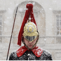 A snapshot of a freezing Britain. (1-6) 1. A Household Cavalry Guard stands in the blizzard in Westminster, London. PHOTO: Getty Images 2. A snowy street in Glasgow, Scotland. PHOTO: Getty Images 3. Heavy snowfall at Oxford Circus, London. PHOTO: BBC News 4. People grit the paths near the Kelpies in Helix Park, Falkirk. PHOTO: PA 5. A view through the falling snow looking down the Croft-an-Righ in Edinburgh. PHOTO: PA 6. The sun shines over the snow covered dales of Ribble Valley in Lancaster. PHOTO: Getty Images snow winter freeze uk scotland edinburgh glasgow falkirk london lancaster bbcnews q: A snapshot of a freezing Britain. (1-6) 1. A Household Cavalry Guard stands in the blizzard in Westminster, London. PHOTO: Getty Images 2. A snowy street in Glasgow, Scotland. PHOTO: Getty Images 3. Heavy snowfall at Oxford Circus, London. PHOTO: BBC News 4. People grit the paths near the Kelpies in Helix Park, Falkirk. PHOTO: PA 5. A view through the falling snow looking down the Croft-an-Righ in Edinburgh. PHOTO: PA 6. The sun shines over the snow covered dales of Ribble Valley in Lancaster. PHOTO: Getty Images snow winter freeze uk scotland edinburgh glasgow falkirk london lancaster bbcnews q