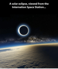 <p>Solar Eclipse From Another Perspective.</p>: A solar eclipse, viewed from the  Internation Space Station... <p>Solar Eclipse From Another Perspective.</p>