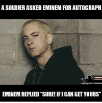 "America, Eminem, and Funny: A SOLDIER ASKED EMINEMFOR AUTOGRAPH  AMERICAN VETERANS  EMINEM REPLIED' SURE! IFICAN GET YOURS"" Eminem is the greatest rapper of all time. PC: @conservativemovement 🔴www.TooSavageForDemocrats.com🔴 JOINT INSTAGRAM: @rightwingsavages Partners: 🇺🇸 @The_Typical_Liberal 🇺🇸 @theunapologeticpatriot 🇺🇸 @DylansDailyShow 🇺🇸 @keepamerica.usa 🇺🇸@Raised_Right_ 🇺🇸@conservative.female 🇺🇸 @too_savage_for_liberals 🇺🇸 @Conservative.American DonaldTrump Trump 2A MakeAmericaGreatAgain Conservative Republican Liberal Democrat Ccw247 MAGA Politics LiberalLogic Savage TooSavageForDemocrats Instagram Merica America PresidentTrump Funny True SecondAmendment"