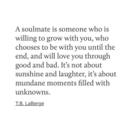 mundane: A soulmate is someone who is  willing to grow with you, who  chooses to be with you until the  end, and will love you through  good and bad. It's not about  sunshine and laughter, it's about  mundane moments filled with  unknowns.  TB. LaBerge