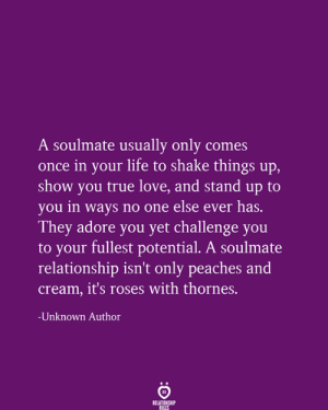 One Else: A soulmate usually only comes  once in your life to shake things up,  show you true love, and stand up to  you in ways no one else ever has.  They adore you yet challenge you  to your fullest potential. A soulmate  relationship isn't only peaches and  Cream, it's roses with thornes.  Unknown Author  RELATIONSHIP  RULES
