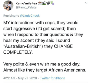 A South African woman's take on white American police. White Americans have a weird, hate boner for Black Americans: A South African woman's take on white American police. White Americans have a weird, hate boner for Black Americans