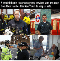 Memes, 🤖, and Emergency: A special thanks to our emergency services, who are away  from their families this New Year's to keep us safe.  ADGATE respect! 🙏🏼❤