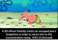 A SS officer intently tracks an escaped jew's  footprints in order to return him to the  concentration camp, 1943 (Colorized) Last post of 2016. Best year ever _____________________________________________ love instagood instadaily csgo ww2 filthyfrank trump hillary fire lit colorized meme thuglife hate daily more weird funny history comedy hood politics dankmemes spongebob lmao ayylmao h3h3 amazing dying wow