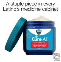 Latinos, Memes, and Heart: A staple piece in every  Latino's medicine cabinet  VICKS  Cure All  COUGH SUPPRESSANT  SUNBURN BBOKEN HEART  SC: BLSNAPZ