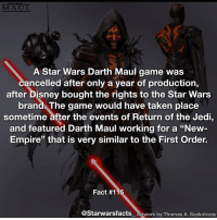 """Q: Would you want Disney to bring this game back? Artwork by Thomas A. Szakolczay starwarsfacts: A Star Wars Darth Maul game was  cancelled after only a year of production,  after Disney bought the rights to the Star Wars  brand The game would have taken place  sometime after the events of Return of the Jedi,  and featured Darth Maul working for a """"New  Empire"""" that is very similar to the First Order.  Fact #115  @Starwarsfacts work by Thomas A. Szakolczay Q: Would you want Disney to bring this game back? Artwork by Thomas A. Szakolczay starwarsfacts"""