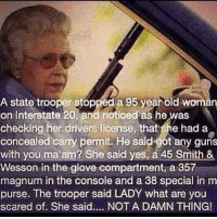 ~Hollywood: A state trooper stopped a 95 year old woman  on Interstate 20, and noticed as he was  checking her drivers license, that she had a  concealed carry permit. He said got any guns  with you ma am? She said yes, a 45 Smith &  Wesson in the glove compartment, a 357  magnum in the console and a 38 special in m  purse. The trooper said LADY what are you  scared of. She said.... NOT A DAMN THING! ~Hollywood