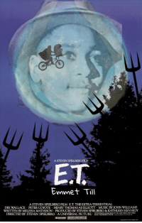 Music, Coyote, and Movie: A STEVEN SPIELBERG FILM  Emmet Till  A STEVEN SPIELBERG FILM E.T. THE EXTRA-TERRESTRIAL  DEE WALLACE PETER COYOTE HENRY THOMAS AS ELLIOTT MUSIC BY JOHN WILLIAMS  WRITTEN BY MELISSA MATHISON PRODUCED BY STEVEN SPIELBERG & KATHLEEN KENNEDY  SOUNDTRACK AVAILABLE ON MCA RECORDS AND TAFES  DIRECTED BY STEVEN SPIELBERG . A UNIVERSAL PICTURE .